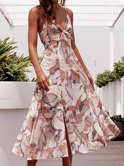 Polychrome V-neck Floral Print Split Front Cami Midi Dress
