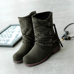 Hollow Out Chunky Low Heeled Velvet Round Toe Outdoor Flat Boots