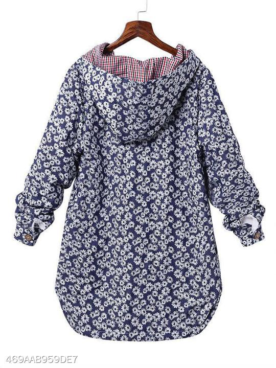 Hooded Single Breasted Floral Printed Coat