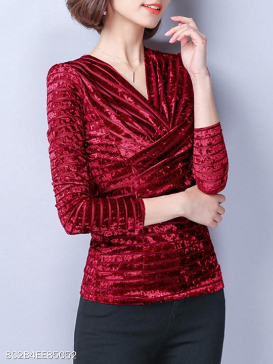 V-Neck Ruched Plain Velvet Blouse