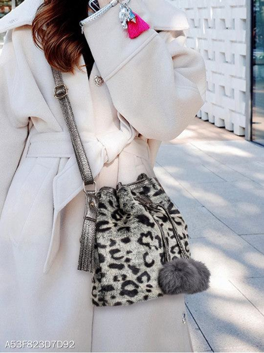 Faux Fur Leopard Striped Drawstring Tassel Decoration Shoulder Bag