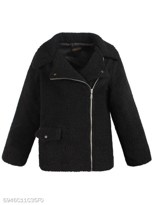 Fold Over Collar Zipper Plain Coat