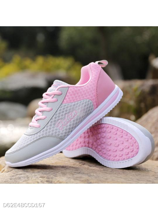 Color Block Flat Criss Cross Round Toe Casual Sport Sneakers