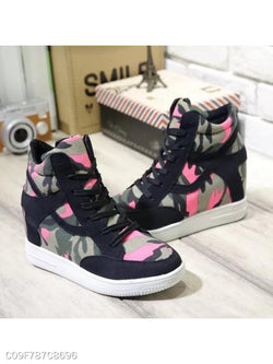 Camouflage Invisible High Heeled Criss Cross Round Toe Casual Short Sneakers