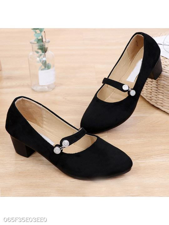 Plain Chunky Mid Heeled Velvet Round Toe Date Office Pumps
