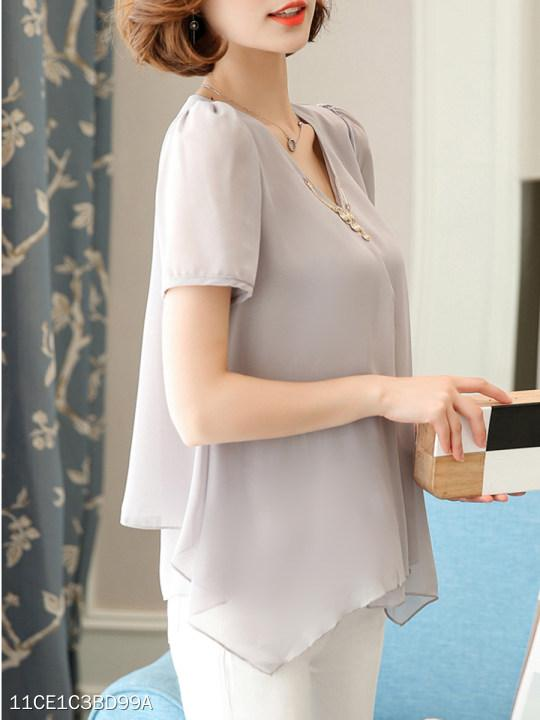 V-Neck Asymmetric Hem Plain Chiffon Blouse