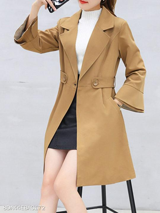 Notch Lapel Belt Loops Plain Bell Sleeve Trench Coat