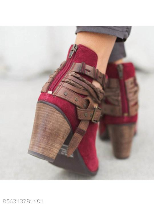 Color Block Chunky High Heeled Velvet Round Toe Outdoor High Heels Boots