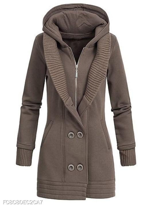 Hooded Double Breasted Plain Coat