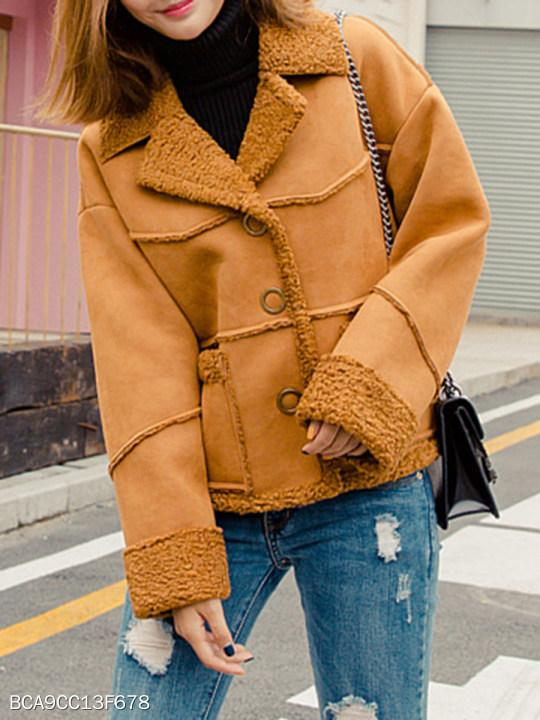 Fold Over Collar Plain Coat