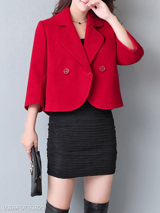 Fold Over Collar Plain Jacket