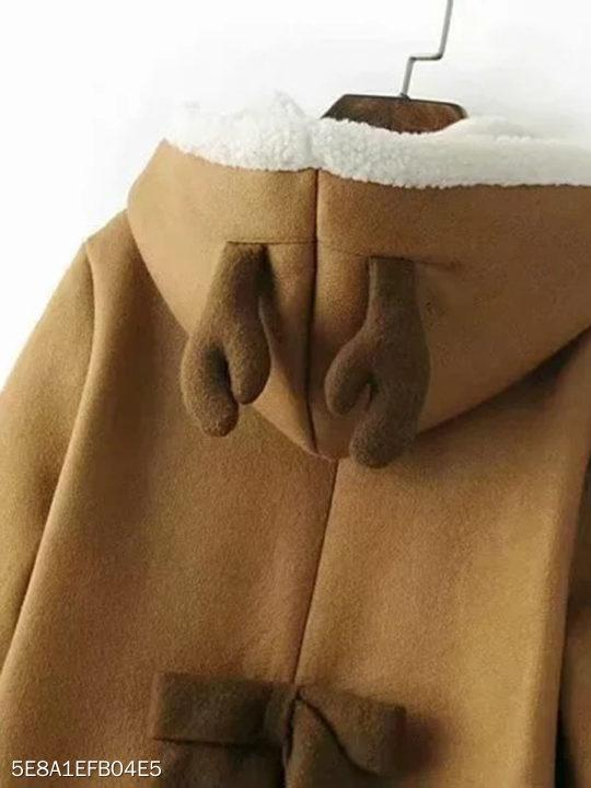 Hooded Bow Plain Coat