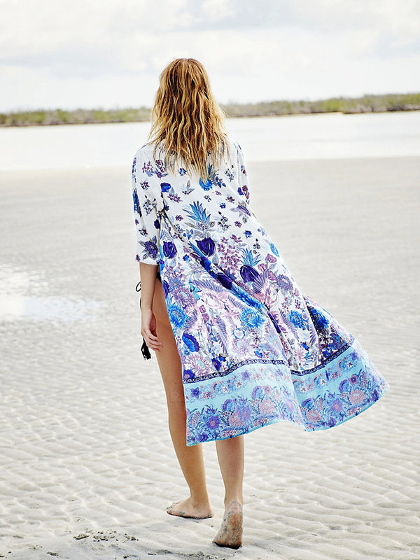 Floral Print Beach Swimwear Cover Up Blouse