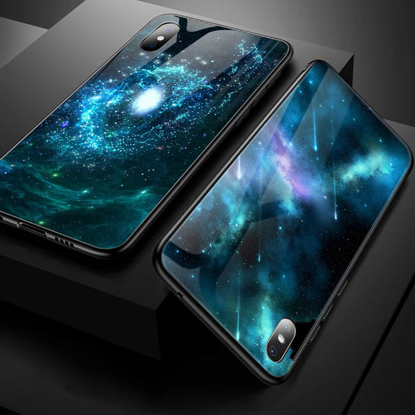 Luxury Space Cover Case for iPhone X XS MAX XR XS Glass Silicone Phone Case for iPhone 6 7 8 Plus