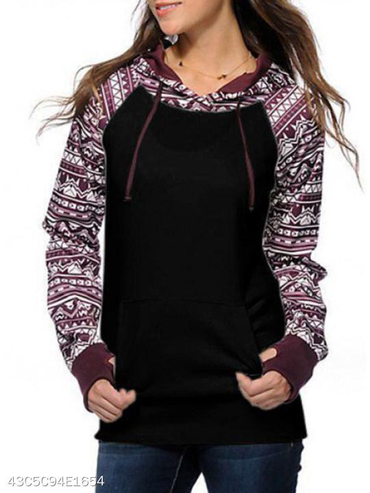 Hooded Patchwork Abstract Print Hoodie