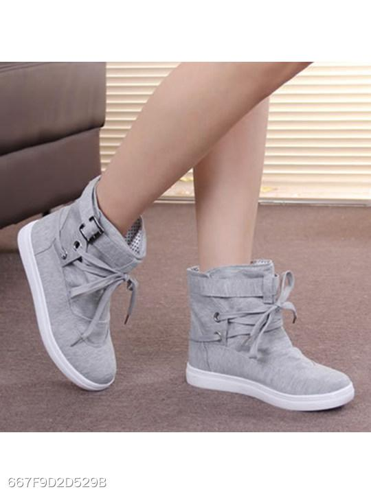 Plain Flat Cotton Criss Cross Round Toe Casual Sport Sneakers