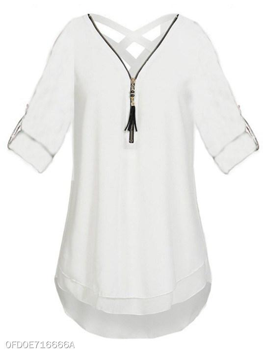 V Neck Zipper Back Hole Plain Blouses