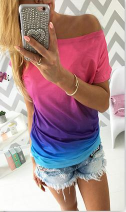 Gradually Changing Color Short Sleeves Scoop Casual T-shirt