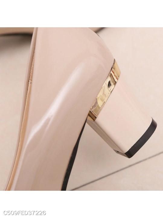 Plain Chunky High Heeled Round Toe Date Office Pumps