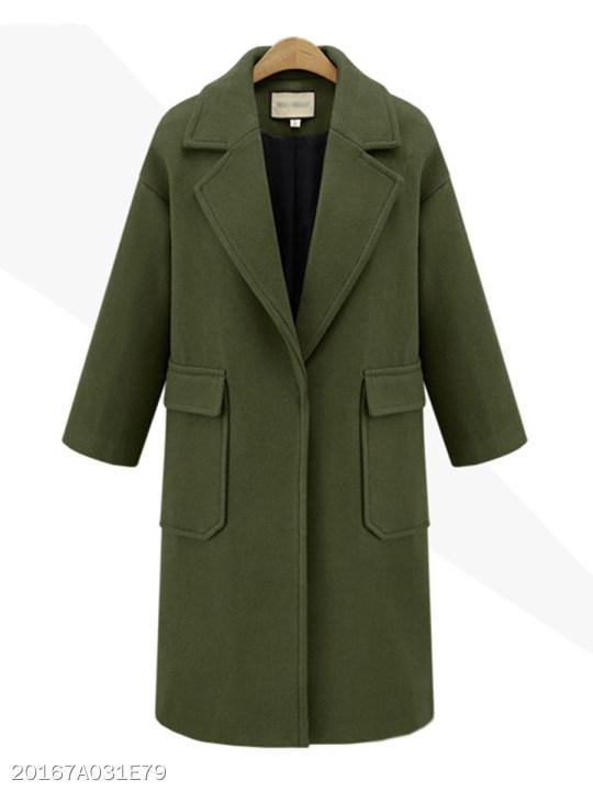 Notch Lapel Flap Pocket Plain Coat