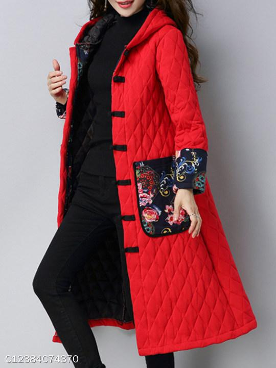 Hooded Single Breasted Patchwork Coat