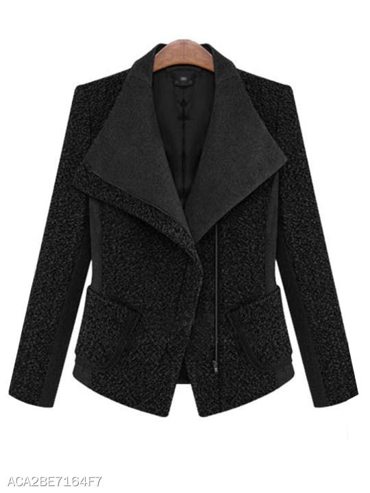 Lapel Zipper Plain Jacket