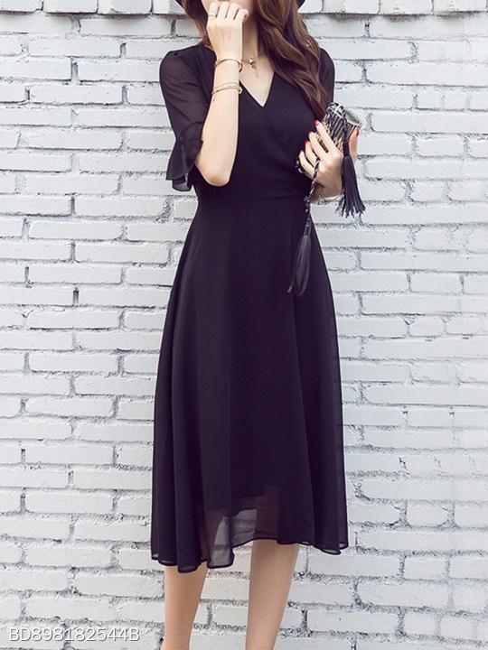 V Neck Plain Bell Sleeve Maxi Dress