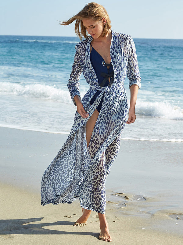 Leopard Print Chiffon Beach Sunscreen Cardigan