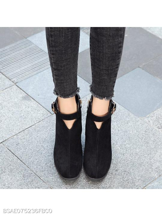 Plain Chunky High Heeled Velvet Round Toe Date Outdoor Boots