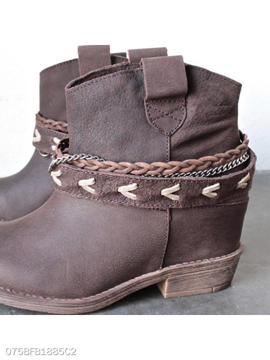 Plain Flat Round Toe Outdoor Boots
