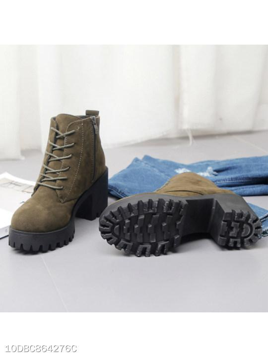 Plain Chunky High Heeled Velvet Criss Cross Round Toe Outdoor Ankle High Heels Boots
