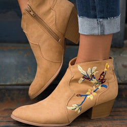 Boots - Embroidered Pointed Toe Chunky Ankle Boots - Bevsu