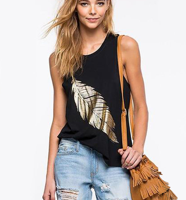 Sexy Slim Sleeveless Black T-Shirt