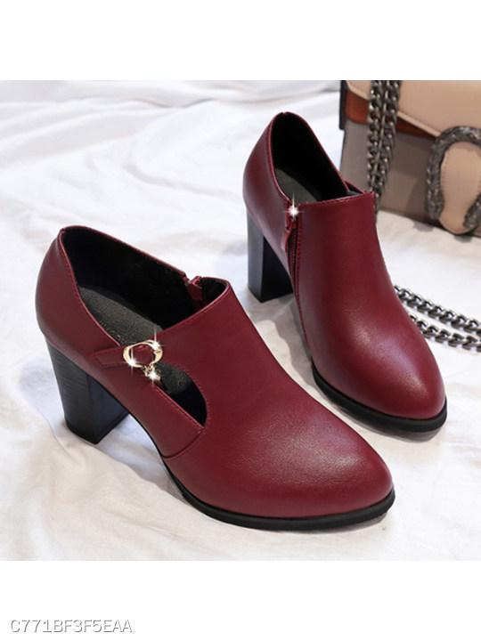 Plain Chunky High Heeled Point Toe Date Office Pumps