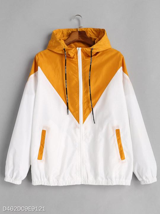 Hooded Patchwork Color Block Hoodie