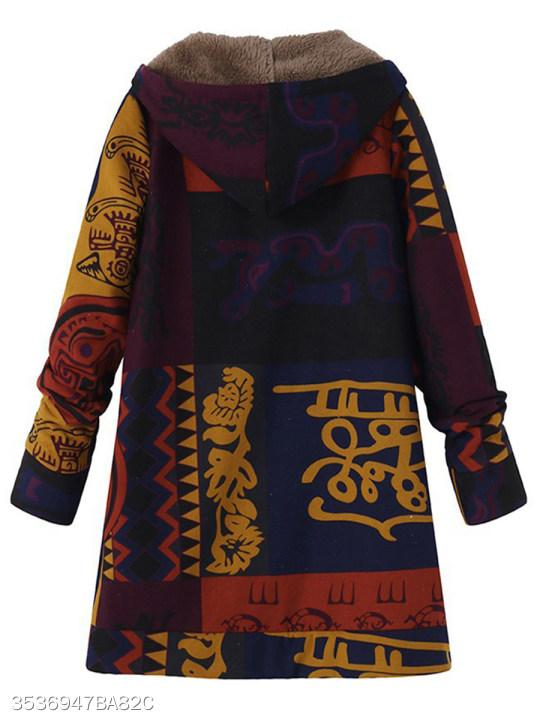 Hooded Abstract Print Coat