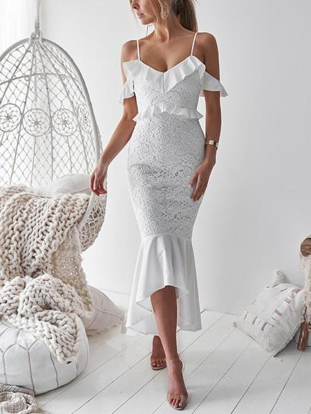 White V-neck Ruffle Trim Fishtail Hem Lace Bodycon Cami Maxi Dress