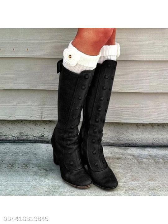 Plain Chunky High Heeled Round Toe Date Outdoor Knee High High Heels Boots