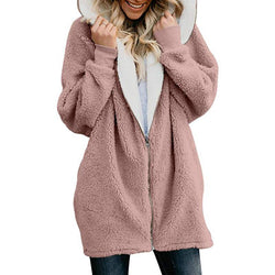 Zipper Cardigan Lamb Wool Warm Hoodie Coat