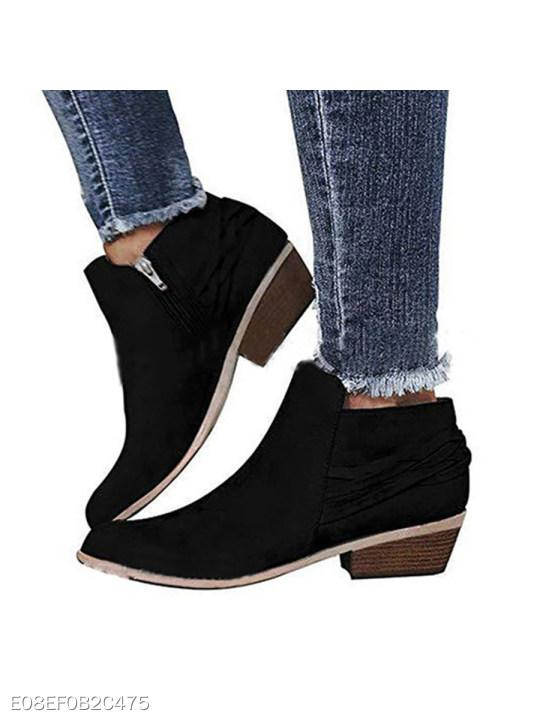 Plain Chunky Low Heeled Velvet Round Toe Casual Date Ankle Boots
