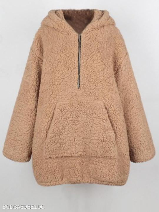 Hooded Kangaroo Pocket Zips Plain Wool Long Sleeve Coats