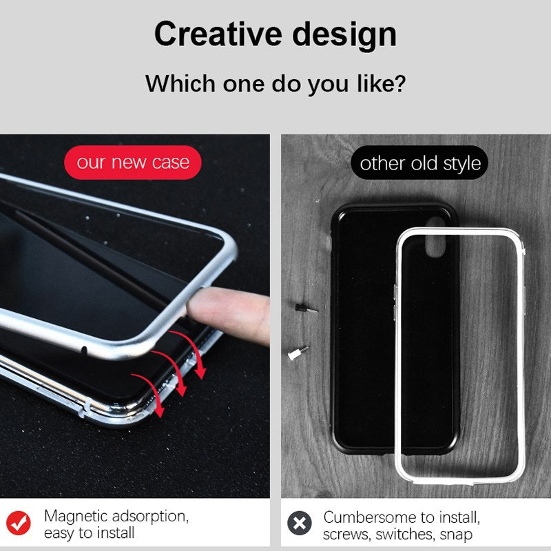 Magnetic Adsorption Phone Case for iphone X 10 metal frame cover tempered glass for iphone - Bevsu