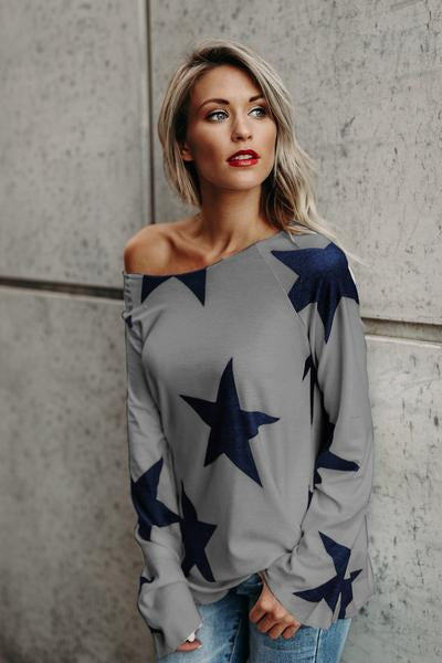 Scoop Stars Print Long Sleeves Loose Long T-shirt