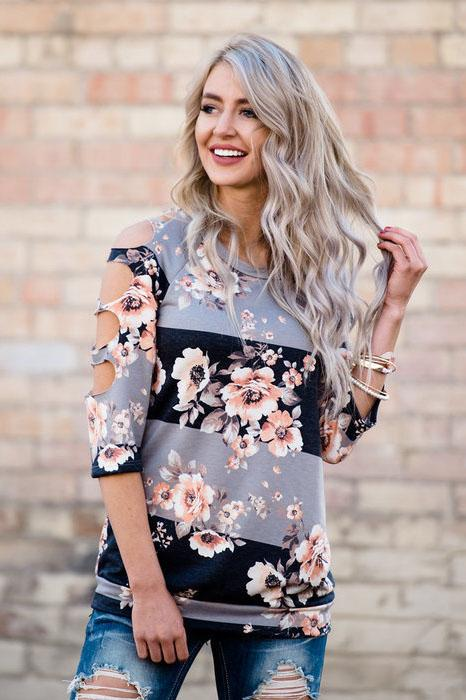 Cut Out Flower Print Half Sleeves Loose T-shirt
