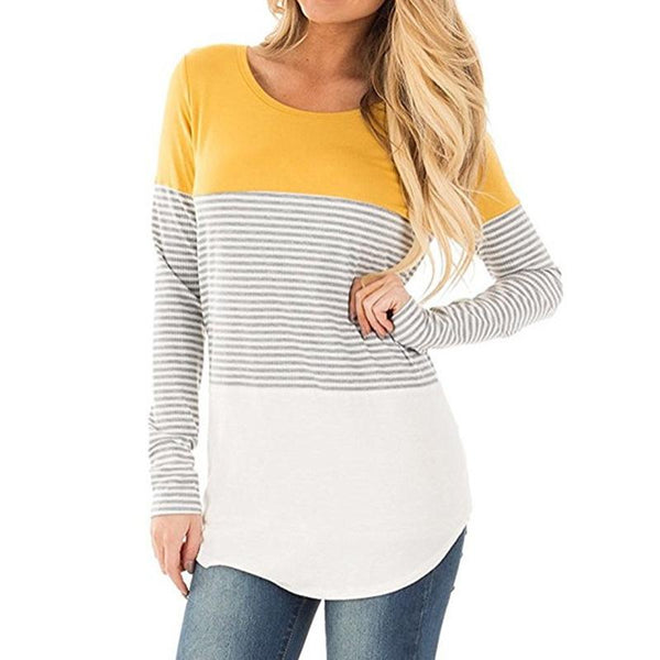 Striped Splicing Long-Sleeved Nursing Blouse