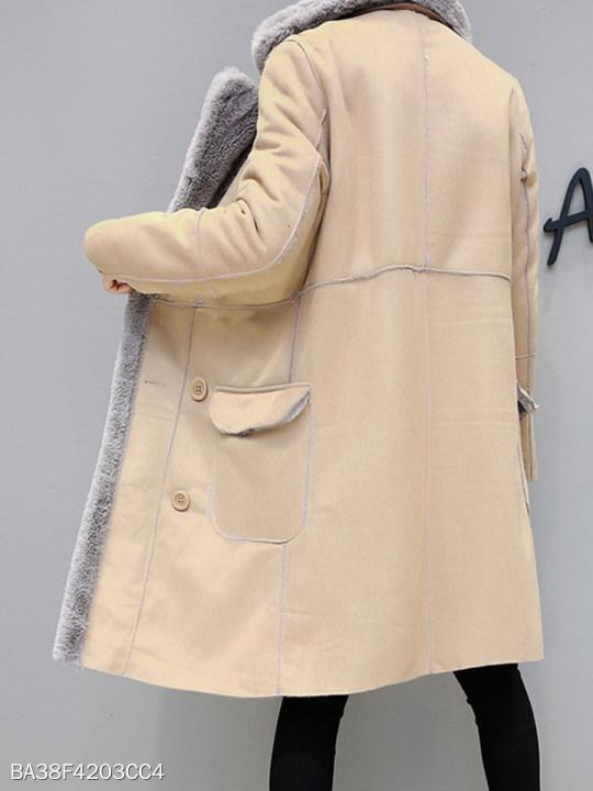 Lapel Double Breasted Plain Coat