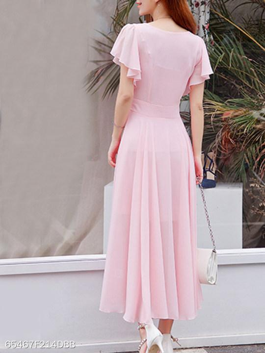 Round Neck Plain Bell Sleeve Maxi Dress
