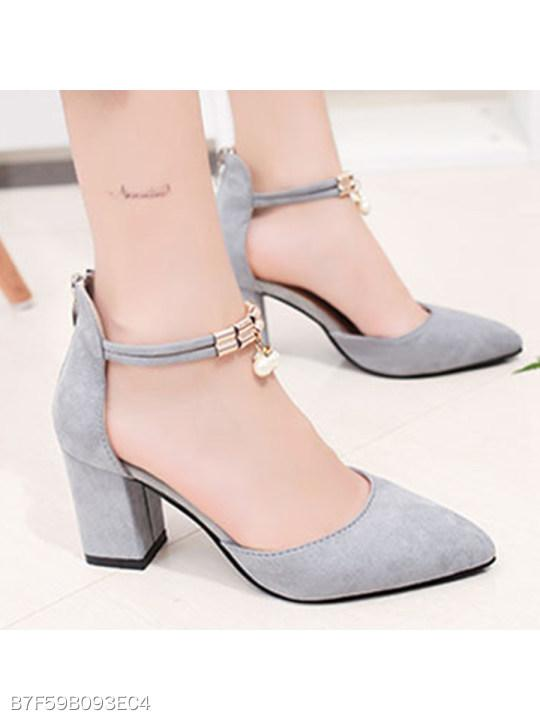Plain Chunky High Heeled Ankle Strap Point Toe Date Event Pumps