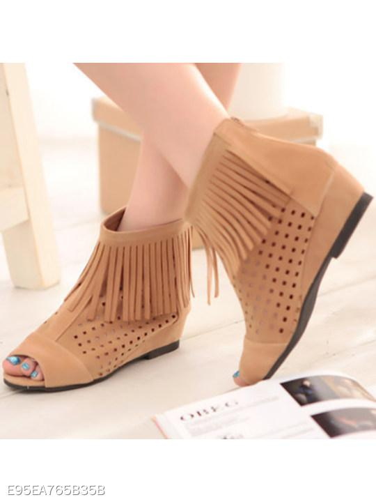 Hollow Out Invisible High Heeled Velvet Peep Toe Date Outdoor High Heels Boots