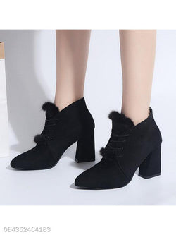 Plain Chunky High Heeled Velvet Point Toe Date Office Short High Heels Boots